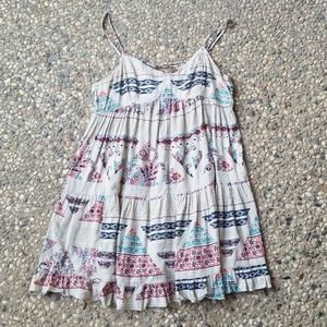 American Eagle Gray Floral Ruffle Babydoll Dress